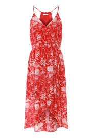 Dex Floral Print Halter Faux Wrap Dress - Front cropped