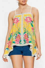Flying Tomato Floral print, handkerchief hem top - Front cropped