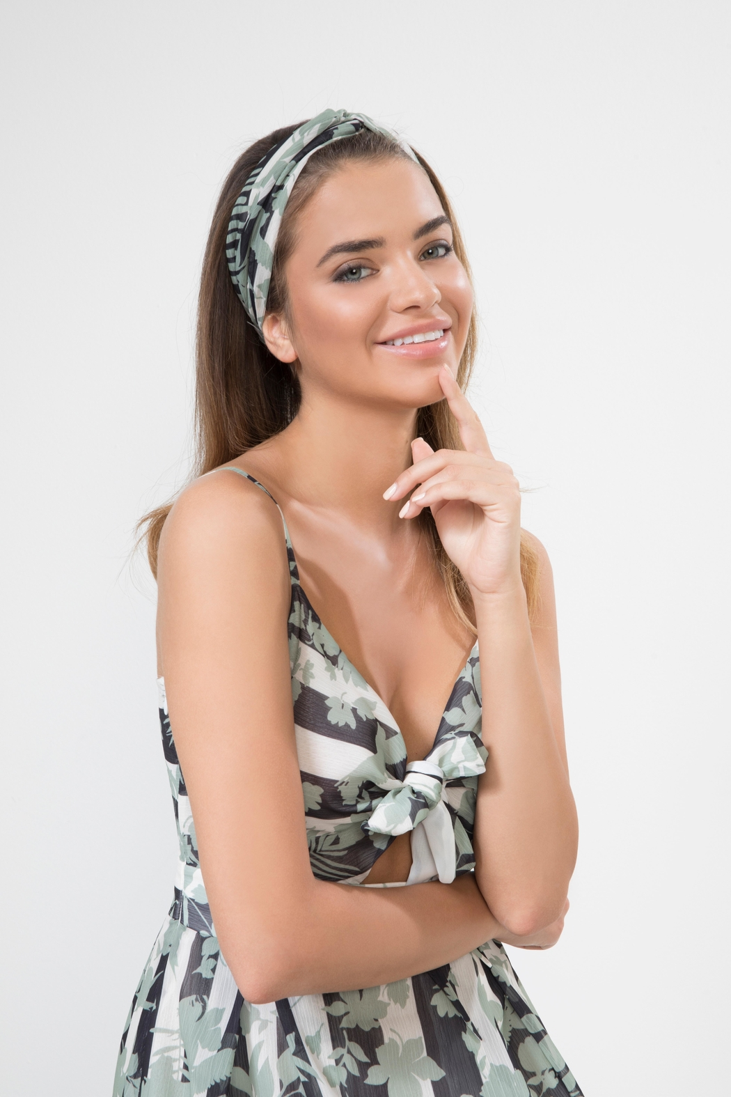 Urban Touch Floral Print Headband - Front Full Image