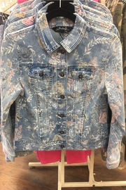 Charlie B Floral Print Jean Jacket - Front full body