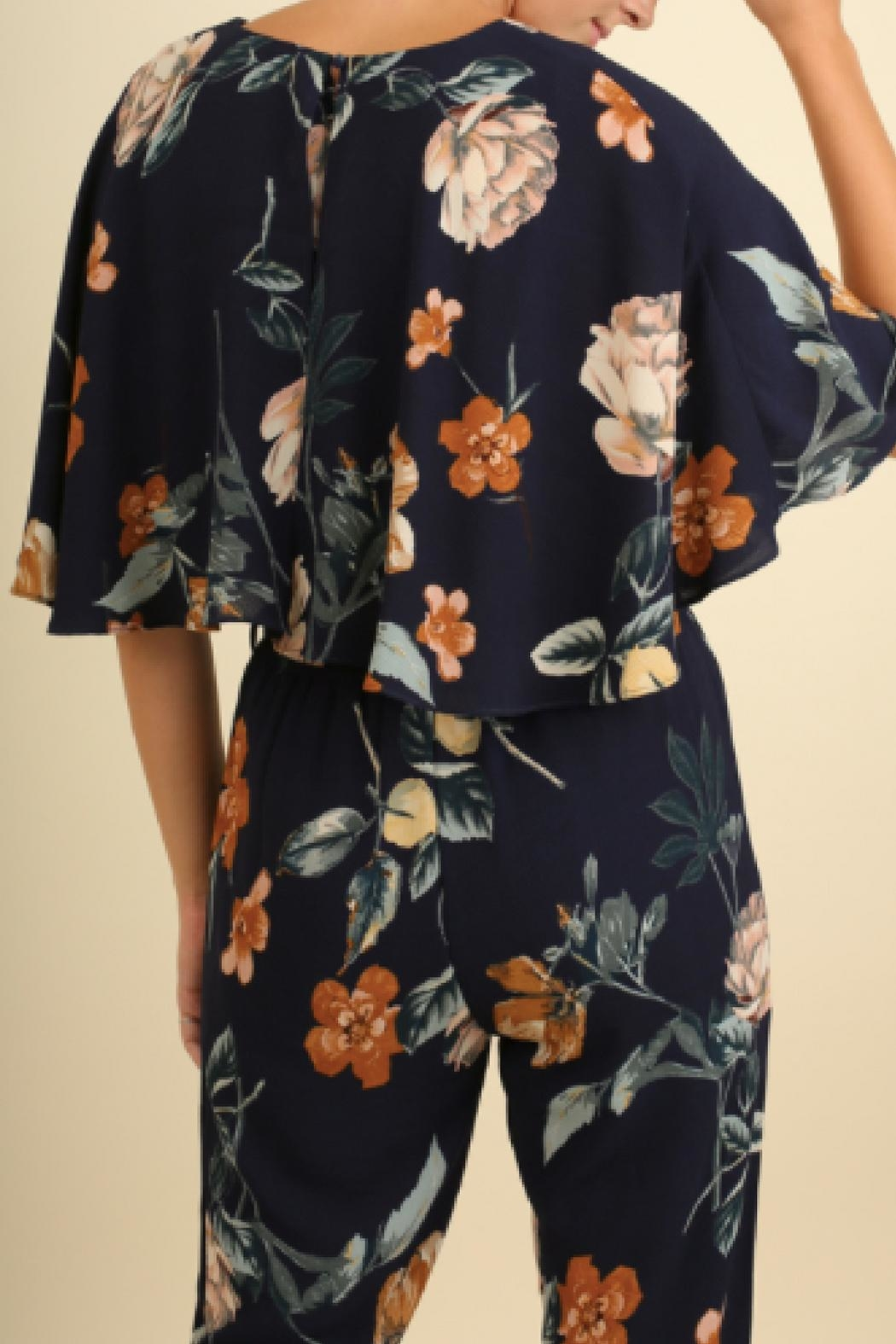 Umgee USA Floral Print Jumpsuit - Front Full Image