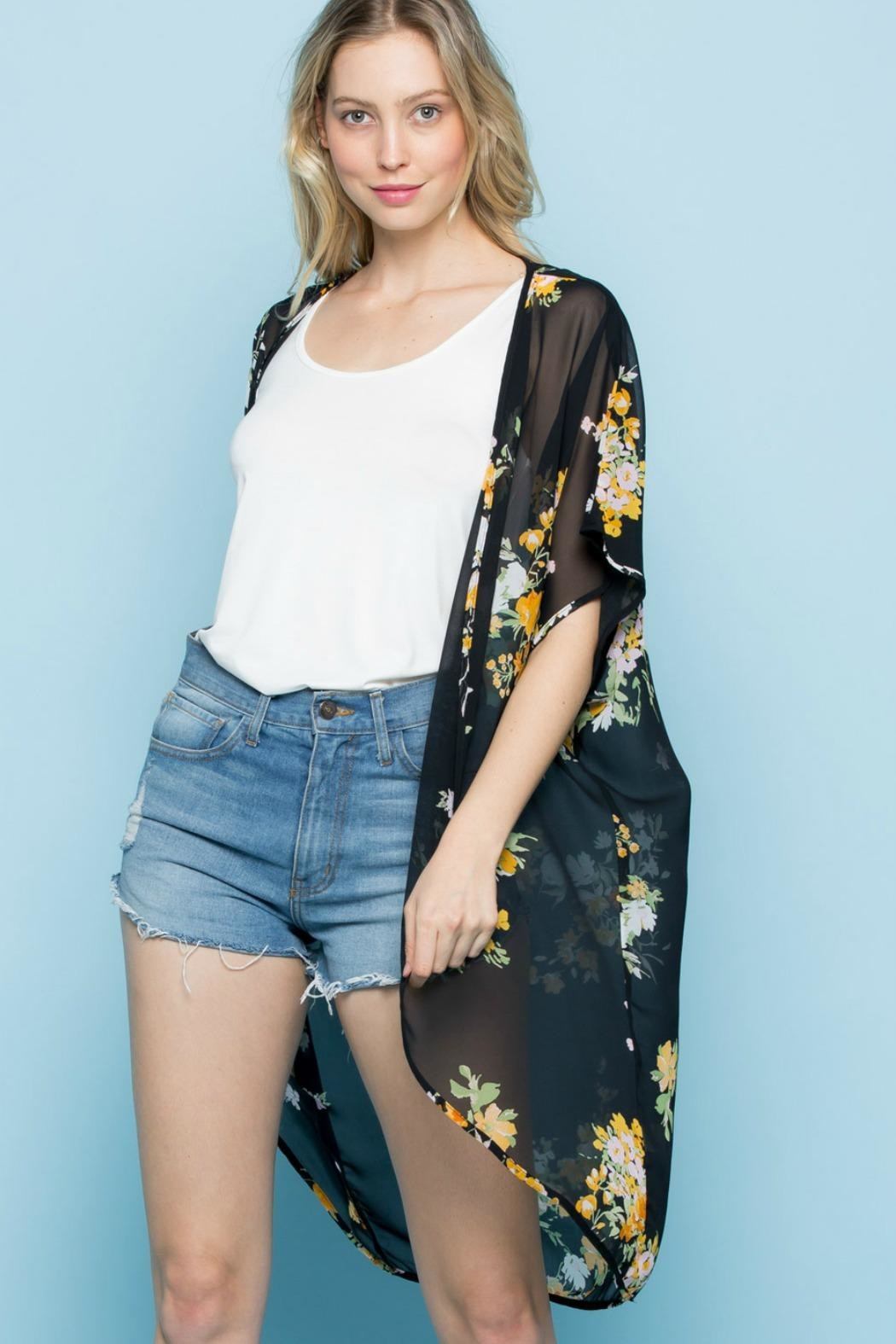 Rags to Raches Floral Print Kimono - Front Full Image