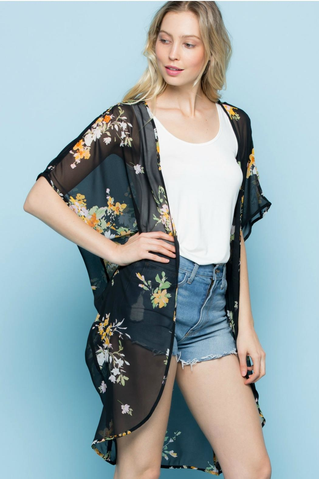 Rags to Raches Floral Print Kimono - Front Cropped Image