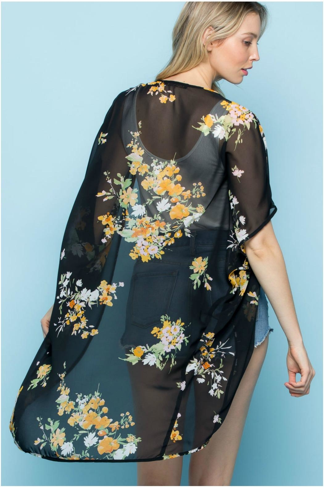 Rags to Raches Floral Print Kimono - Side Cropped Image