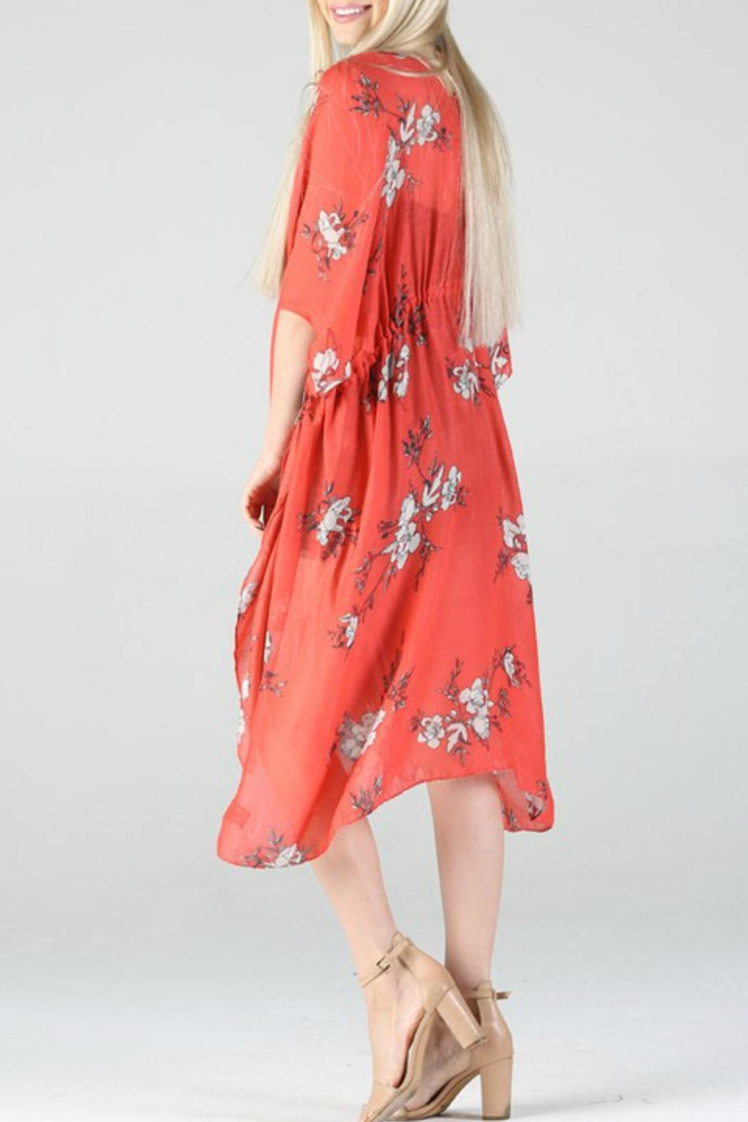 Angie Floral Print Kimono - Side Cropped Image