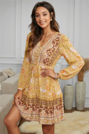 Shewi Floral Print Long Sleeve Mini Dress - Front full body