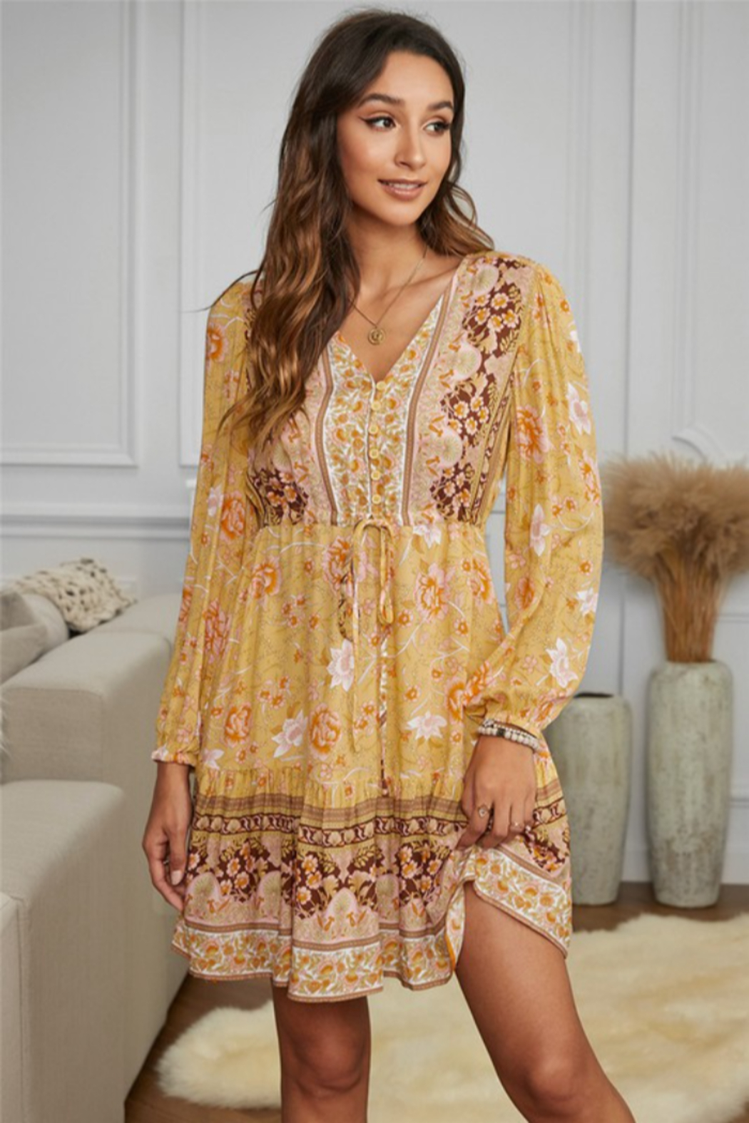 Shewi Floral Print Long Sleeve Mini Dress - Front Cropped Image