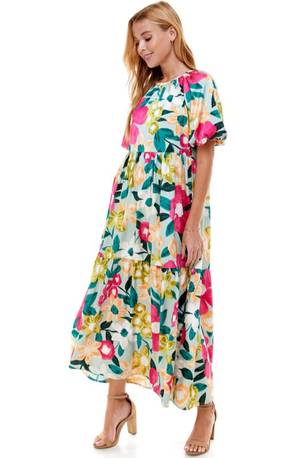 TCEC Floral Print Maxi Dress - Side Cropped Image