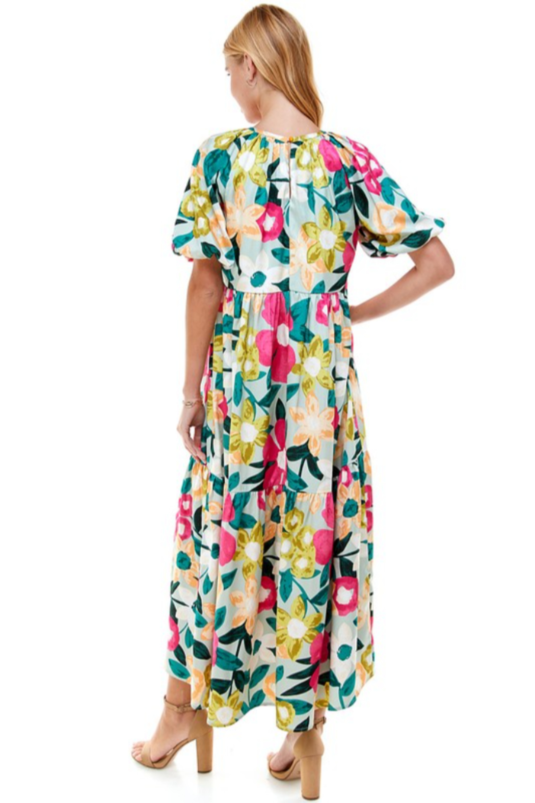 TCEC Floral Print Maxi Dress - Back Cropped Image