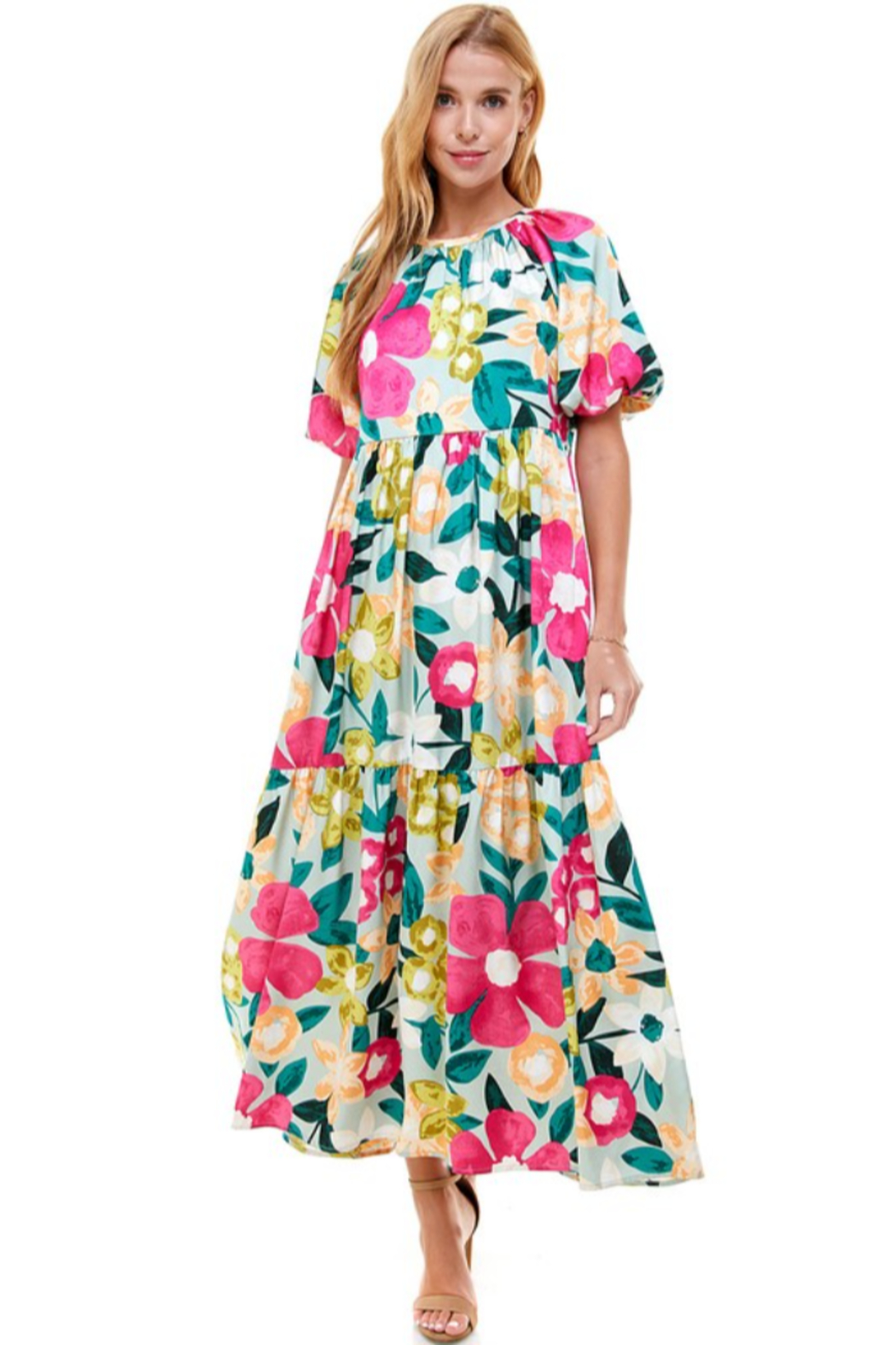TCEC Floral Print Maxi Dress - Front Cropped Image