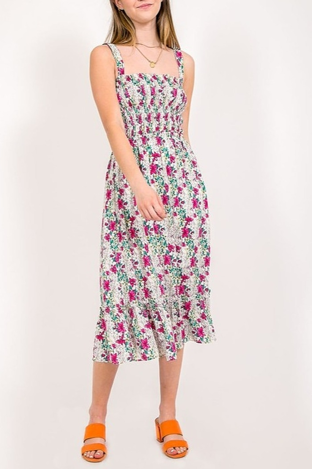 Very J Floral Print Midi Dress - Front Cropped Image