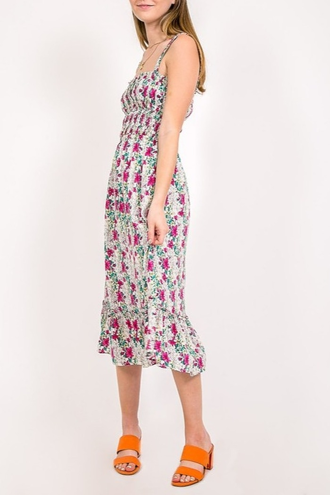 Very J Floral Print Midi Dress - Front Full Image