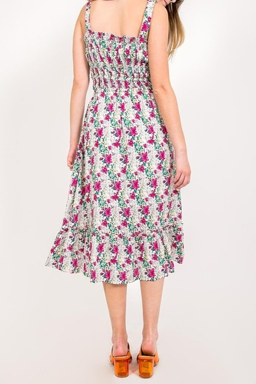 Very J Floral Print Midi Dress - Side Cropped Image