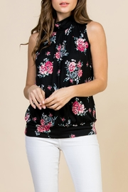 Riah Fashion Floral-Print-Mock-Neck Pleated-Sleeveless-Top - Product Mini Image