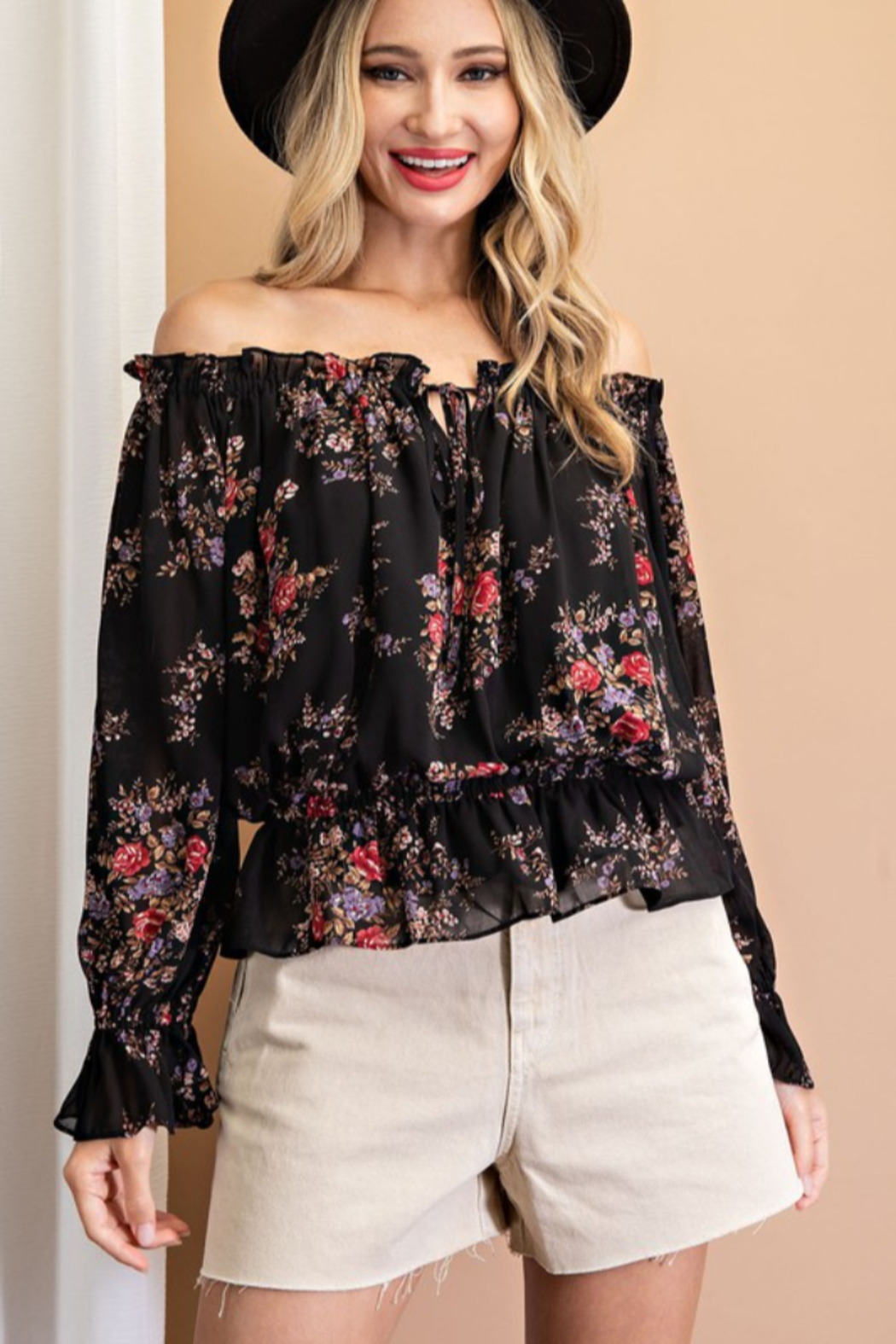 eesome Floral Print Off Shoulder Ruffle Blouse - Front Full Image