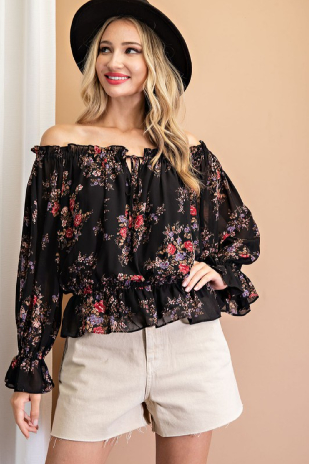 eesome Floral Print Off Shoulder Ruffle Blouse - Main Image