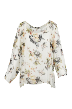 M made in Italy Floral Print Overlay Blouse - Alternate List Image