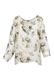 M made in Italy Floral Print Overlay Blouse - Product Mini Image