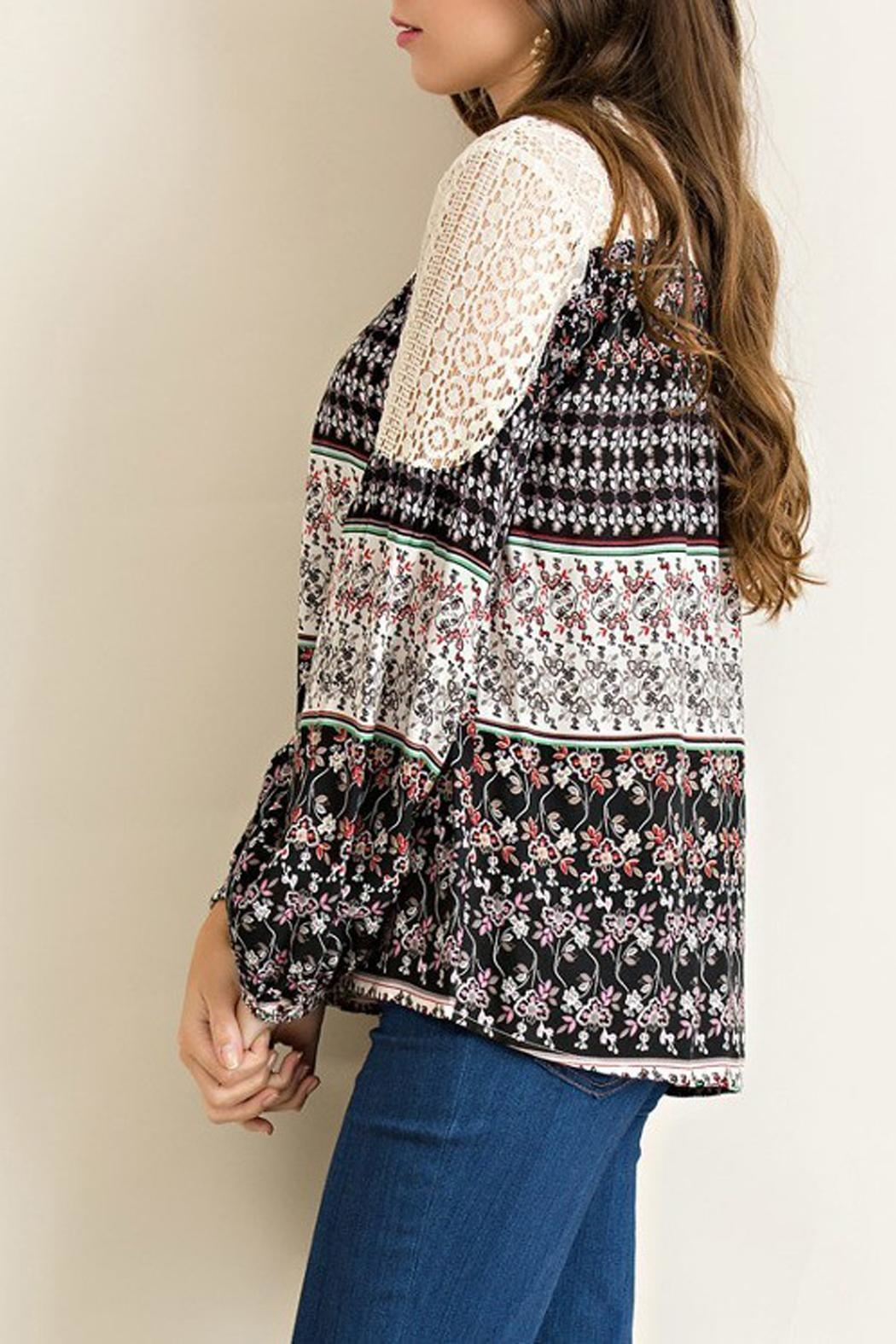 Entro Floral-Print Peasant Top - Front Full Image