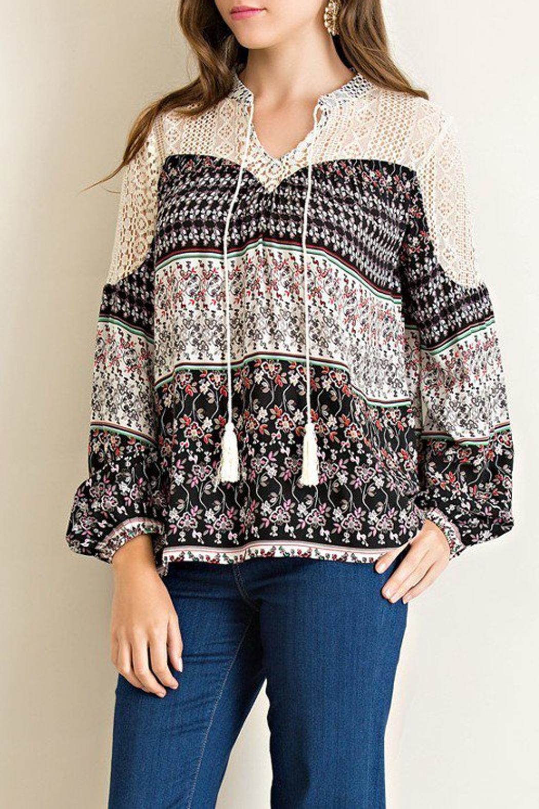 Entro Floral-Print Peasant Top - Side Cropped Image