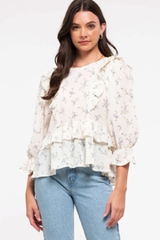 blu Pepper  Floral Print Peplum Top - Front cropped