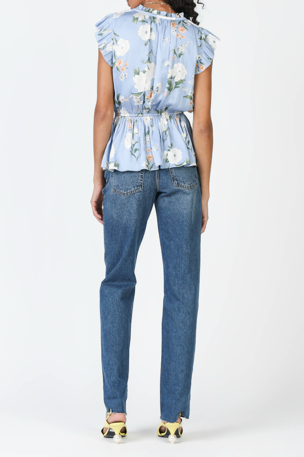 Current Air Floral print pleated top - Front Full Image