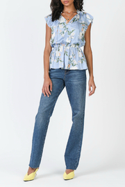 Current Air Floral print pleated top - Front cropped