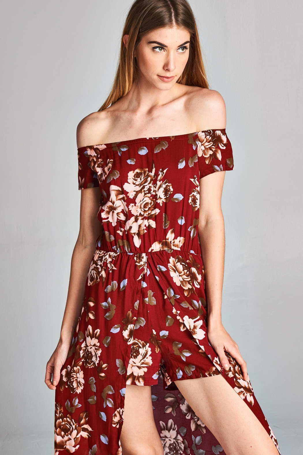 Racine Floral Print Romper - Front Cropped Image