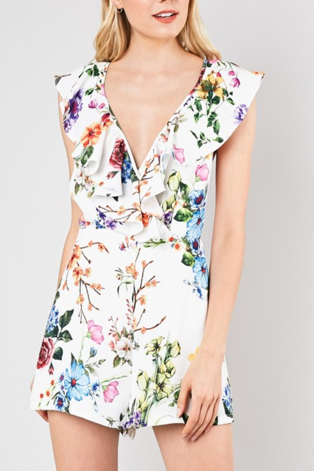 Do & Be Floral Print Romper - Side Cropped Image