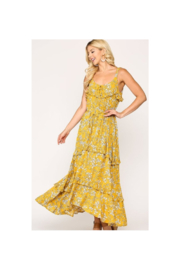 GiGiO Yellow Floral Print Ruffle Detail Tiered Maxi Dress - Front cropped