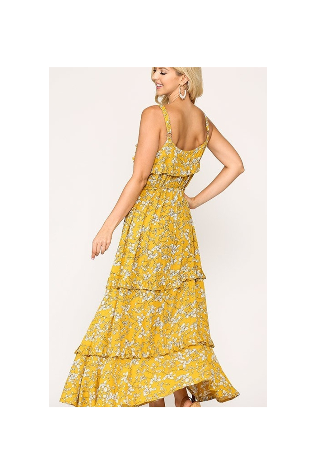 GiGiO Yellow Floral Print Ruffle Detail Tiered Maxi Dress - Front Full Image