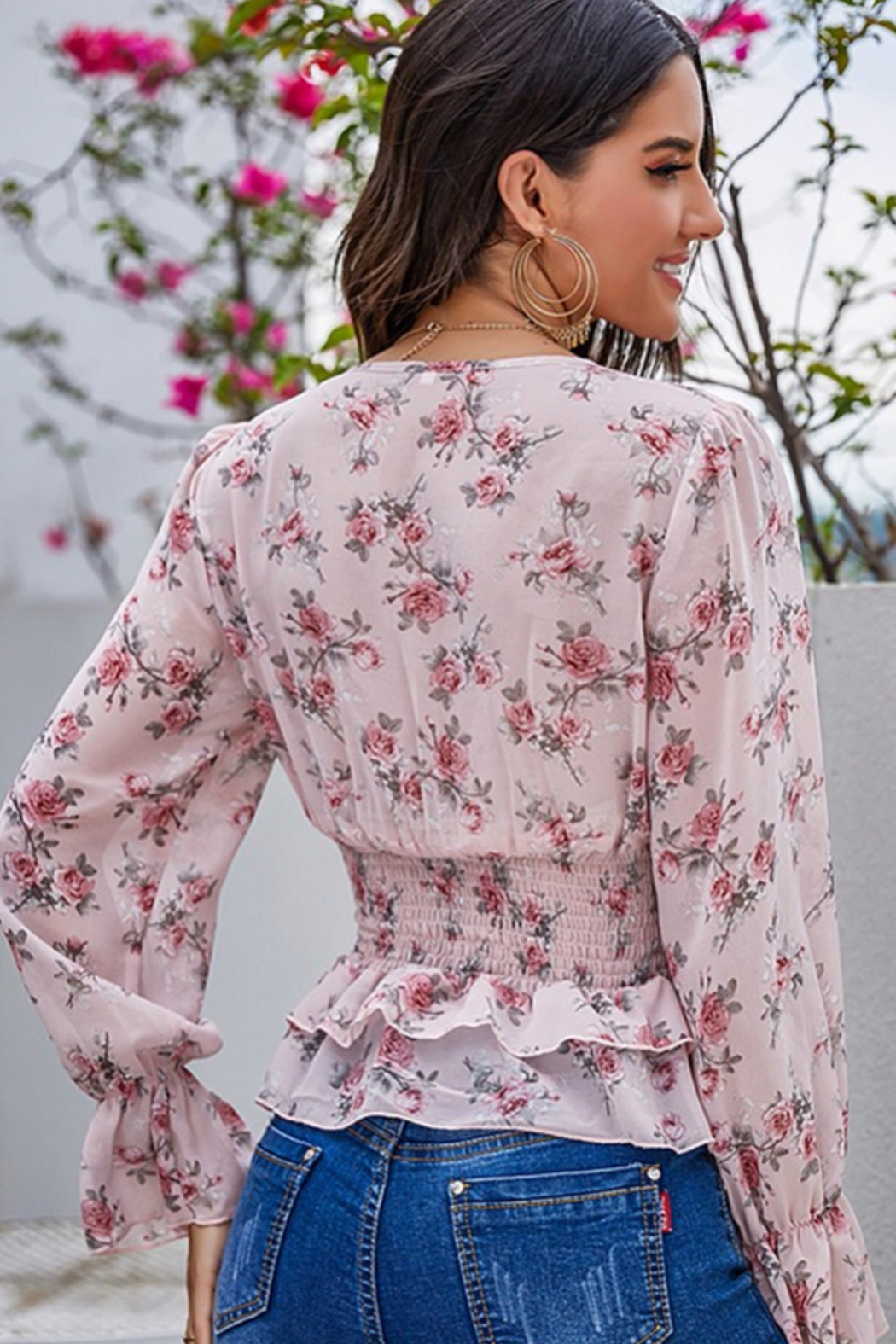 Esley Collection Floral Print Ruffled Blouse - Side Cropped Image