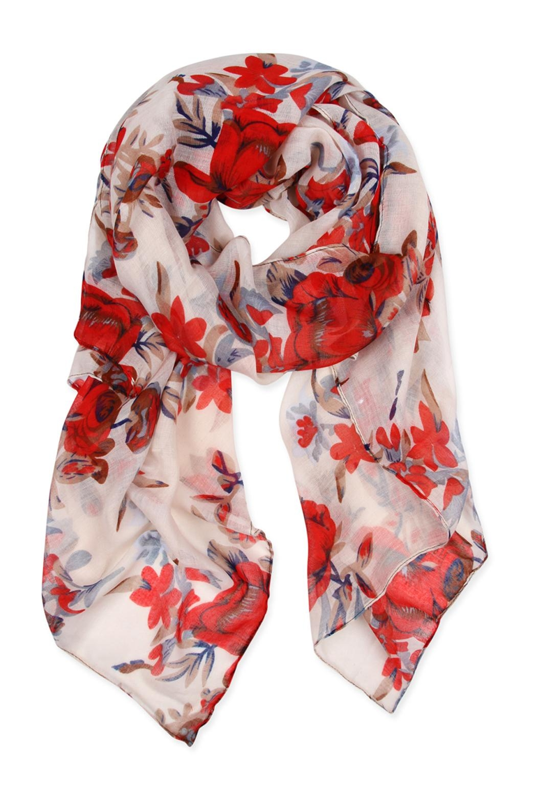 Riah Fashion Floral Print Scarf - Front Cropped Image