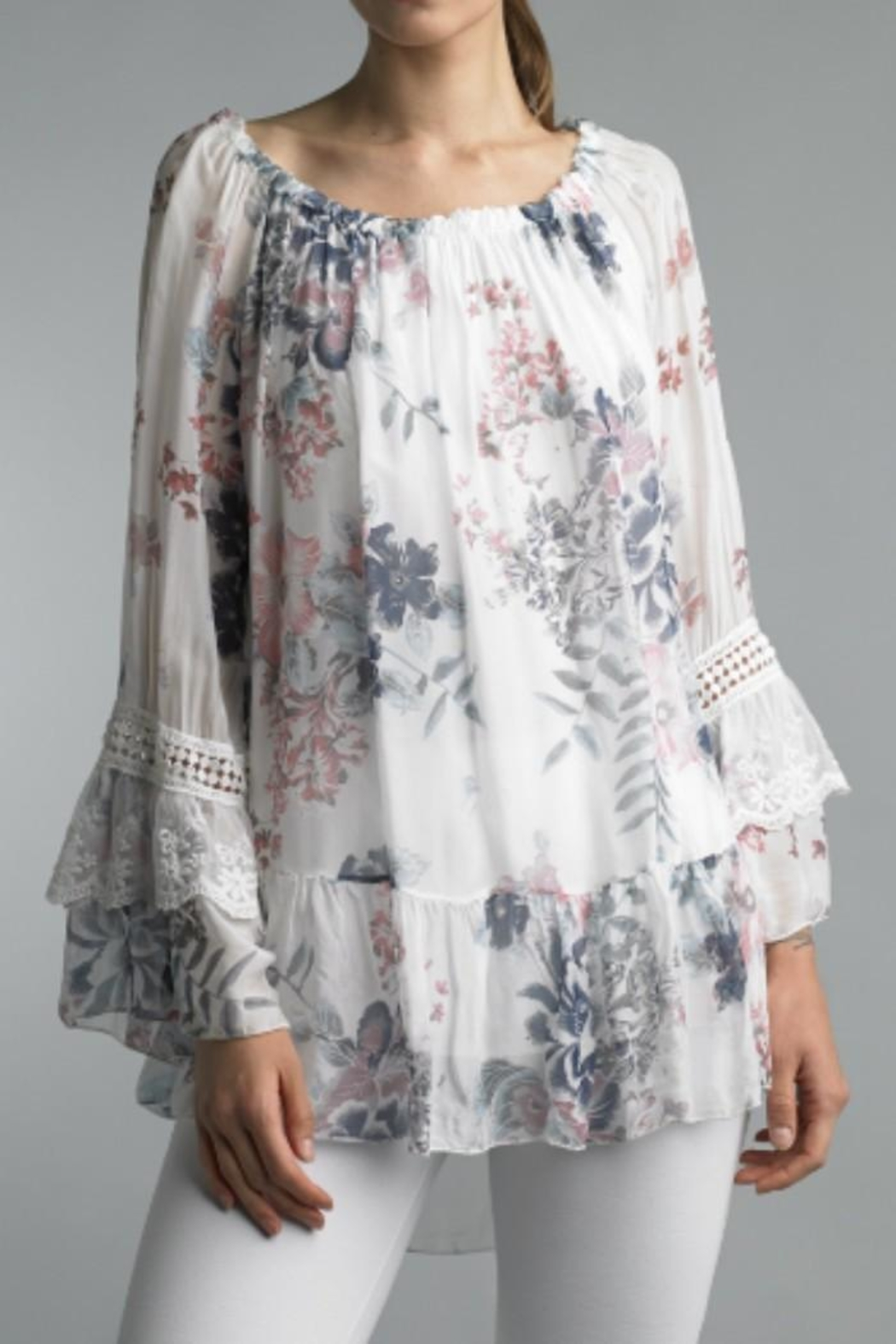 Bolufe Floral-Print Silk Blouse - Side Cropped Image