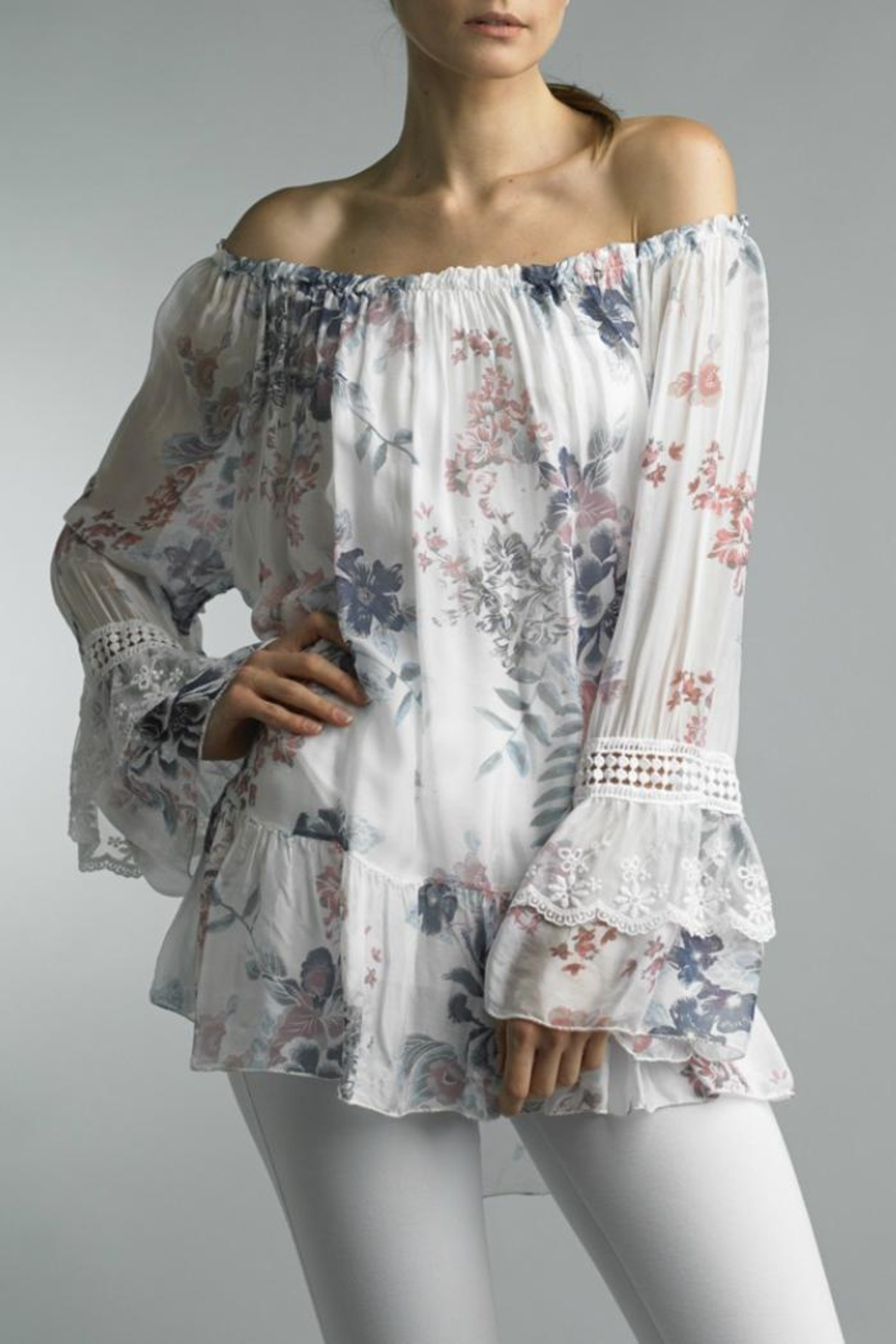 Bolufe Floral-Print Silk Blouse - Front Cropped Image