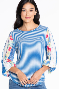 Multiples Floral Print Sleeve Stripe Top - Product List Image