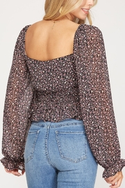 She + Sky Floral Print Smocked Top - Front full body