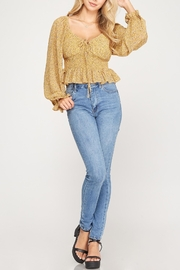 She + Sky Floral Print Smocked Top - Front cropped