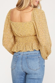 She + Sky Floral Print Smocked Top - Product Mini Image