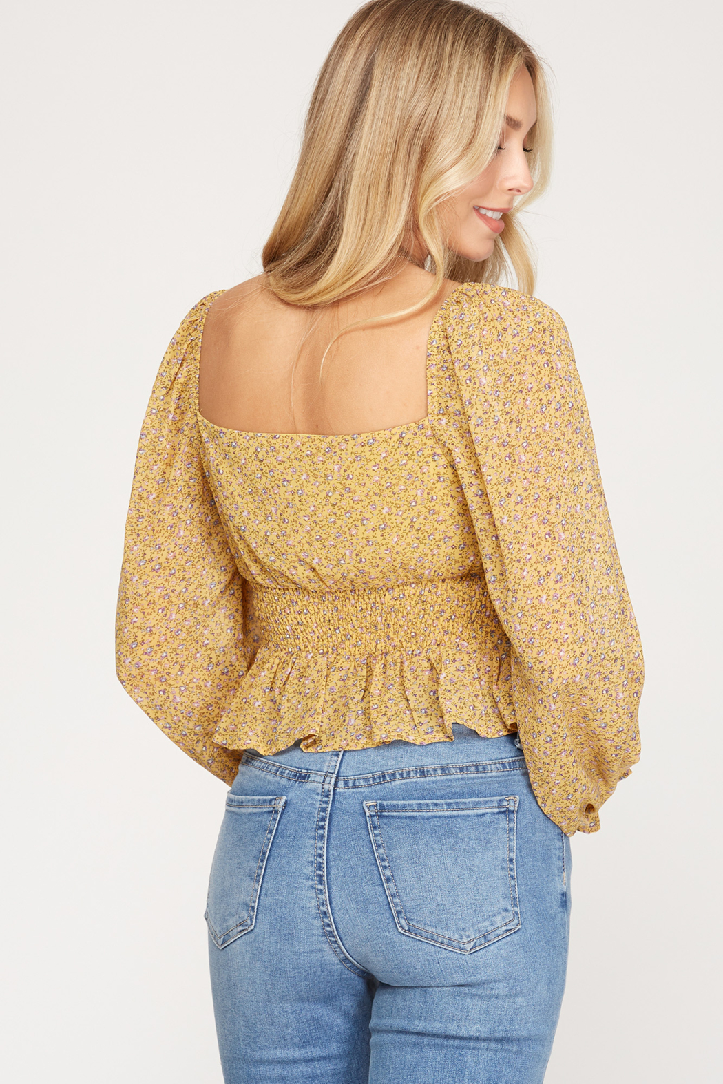 She + Sky Floral Print Smocked Top - Front Full Image