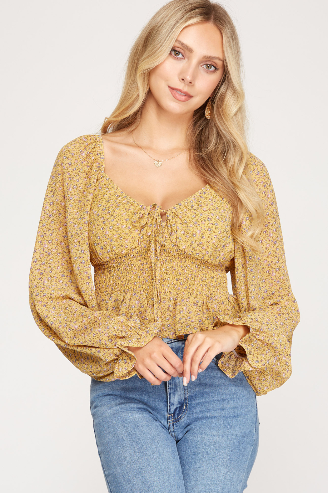 She + Sky Floral Print Smocked Top - Front Cropped Image