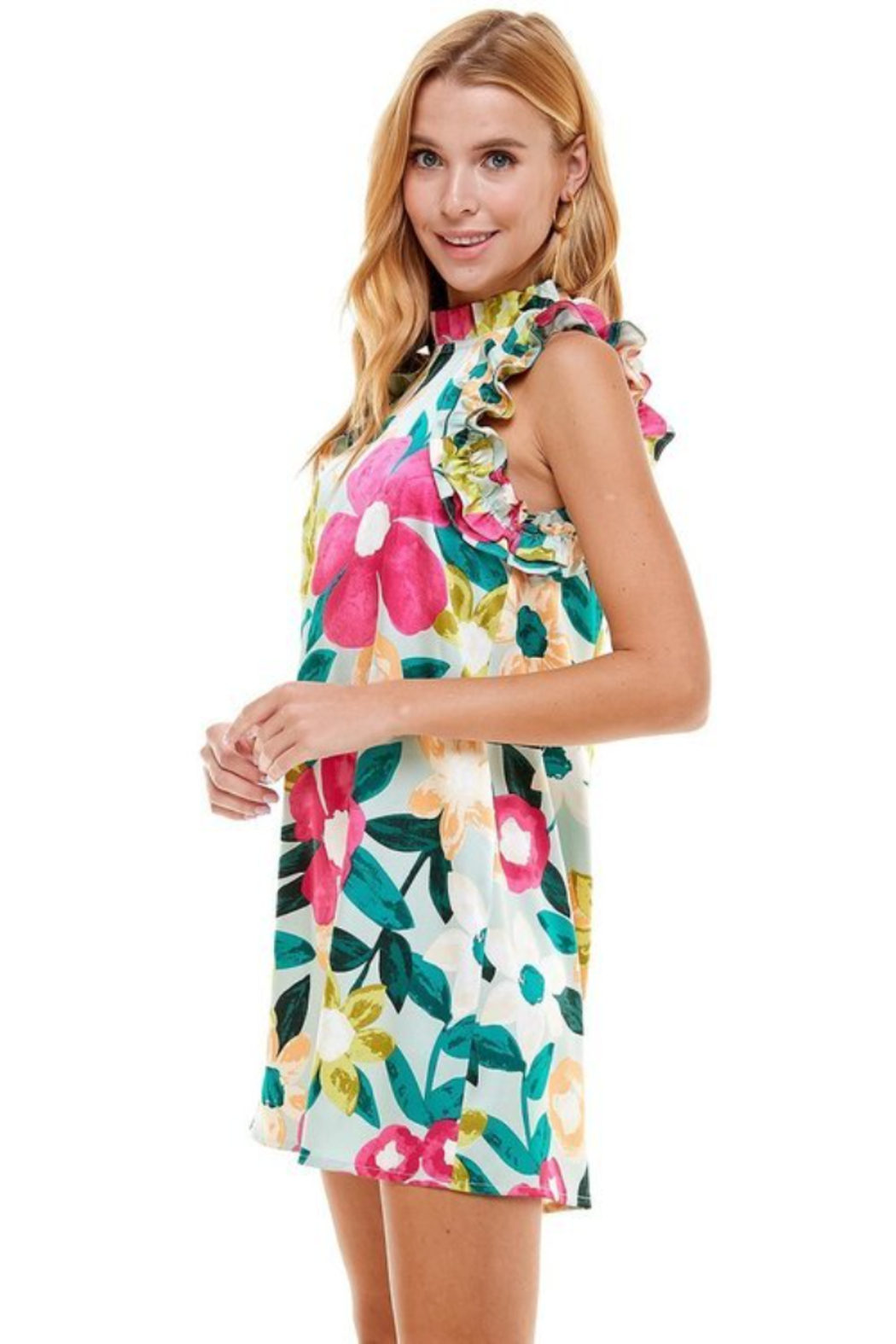 TCEC Floral Print Swing Dress - Front Full Image