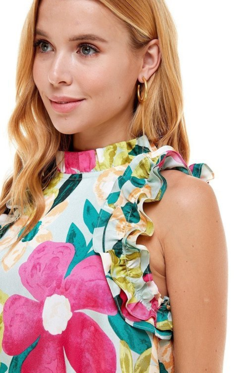 TCEC Floral Print Swing Dress - Back Cropped Image