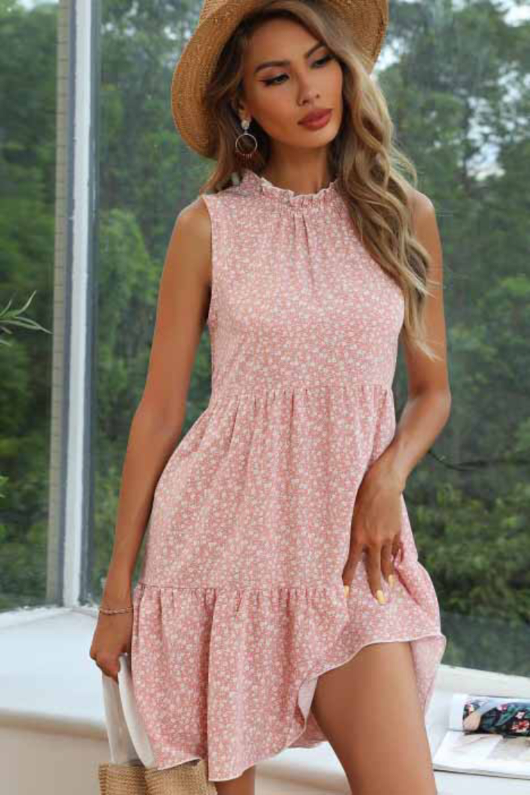 Esley Collection Floral Print Tiered Dress - Main Image