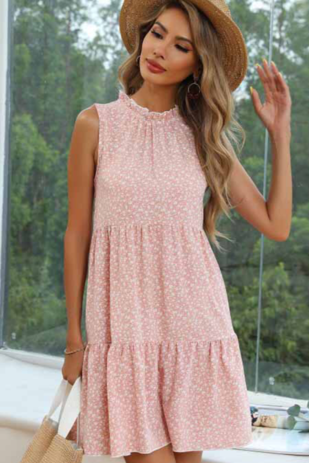 Esley Collection Floral Print Tiered Dress - Front Full Image
