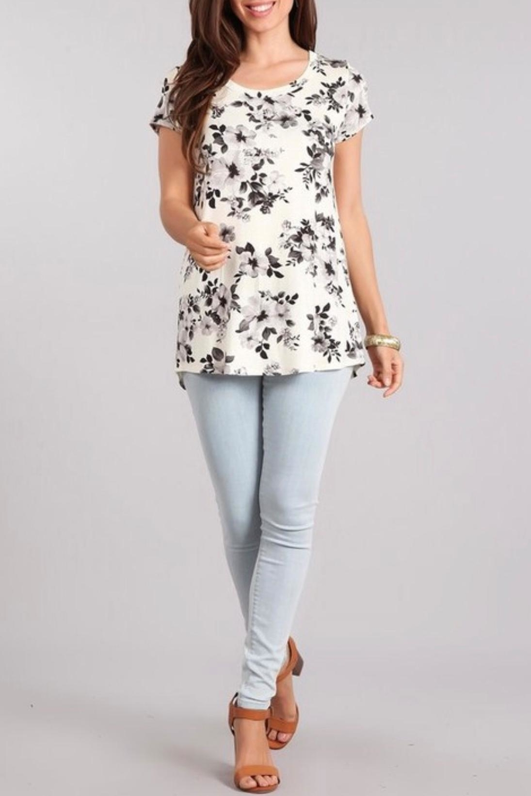 Chris & Carol Floral Print Top - Front Cropped Image