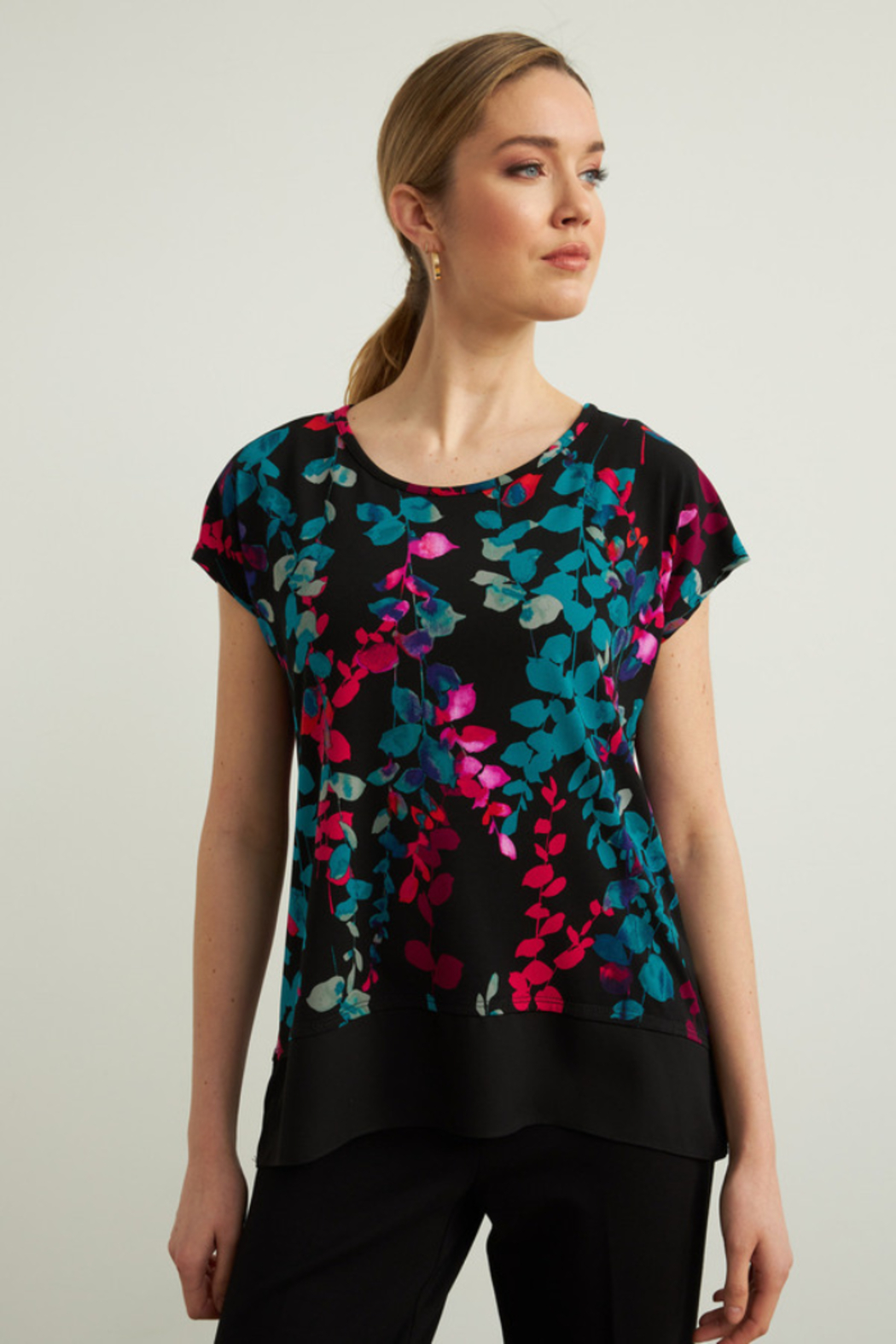 Joseph Ribkoff  Floral print top. Short sleeves. - Front Cropped Image