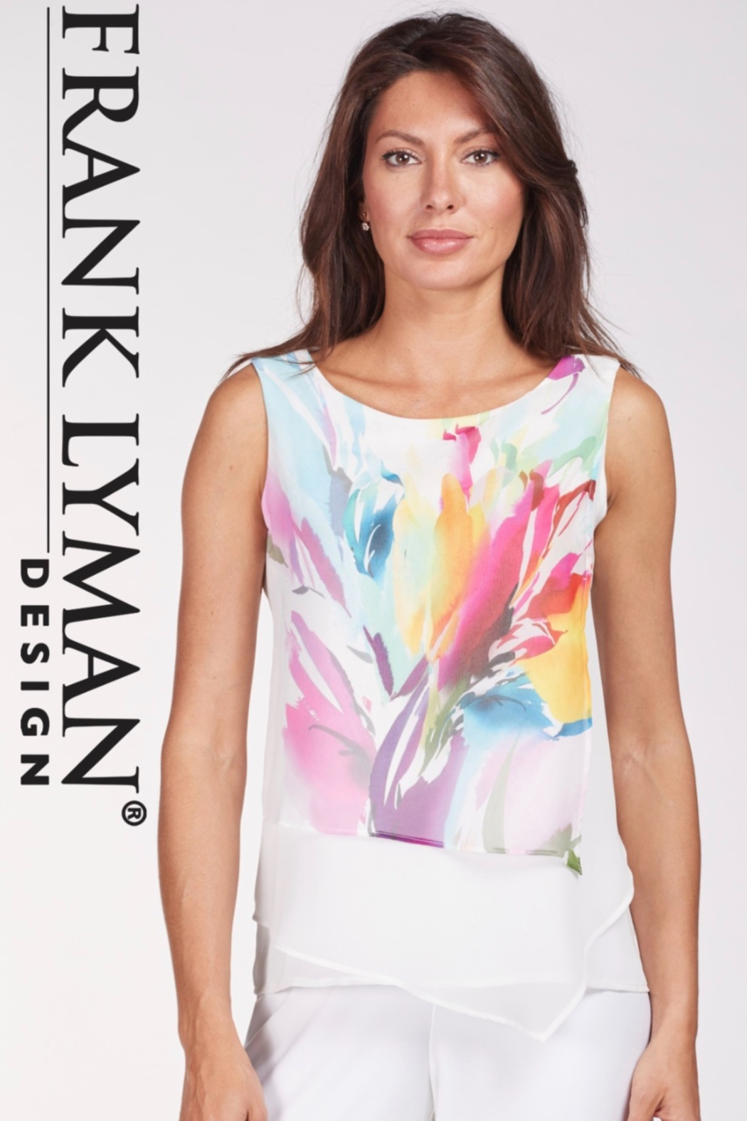 Frank Lyman Floral print tunic top with asymmetrical overlay - Main Image