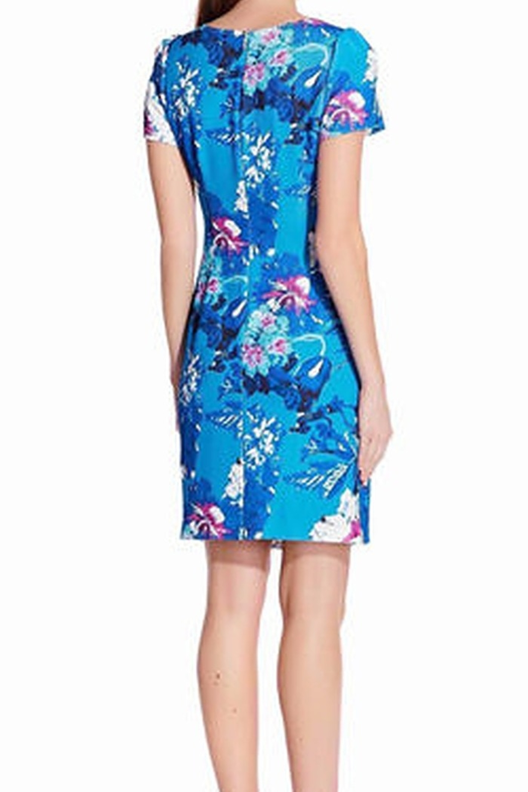 Adrianna Papell Floral Print Twill Short Sleeve Dress - Side Cropped Image