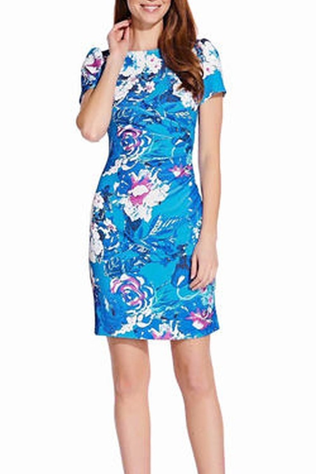 Adrianna Papell Floral Print Twill Short Sleeve Dress - Main Image